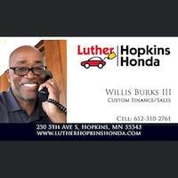 Willis Burks III at Luther Hopkins Honda